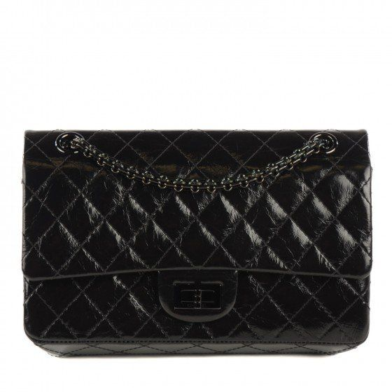 020bf6fac428a6 This is an authentic CHANEL Glazed Calfskin Quilted 2. 55 Reissue 225, So  Black.