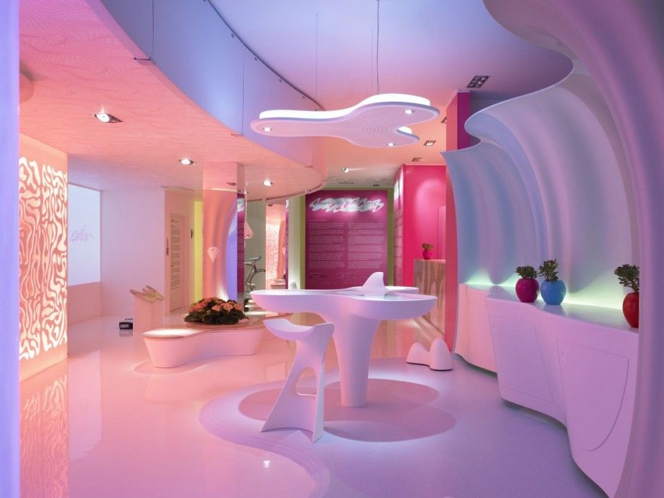 Futuristic Home Interior Design By Karim Rashid Smart Ologic Corian Living
