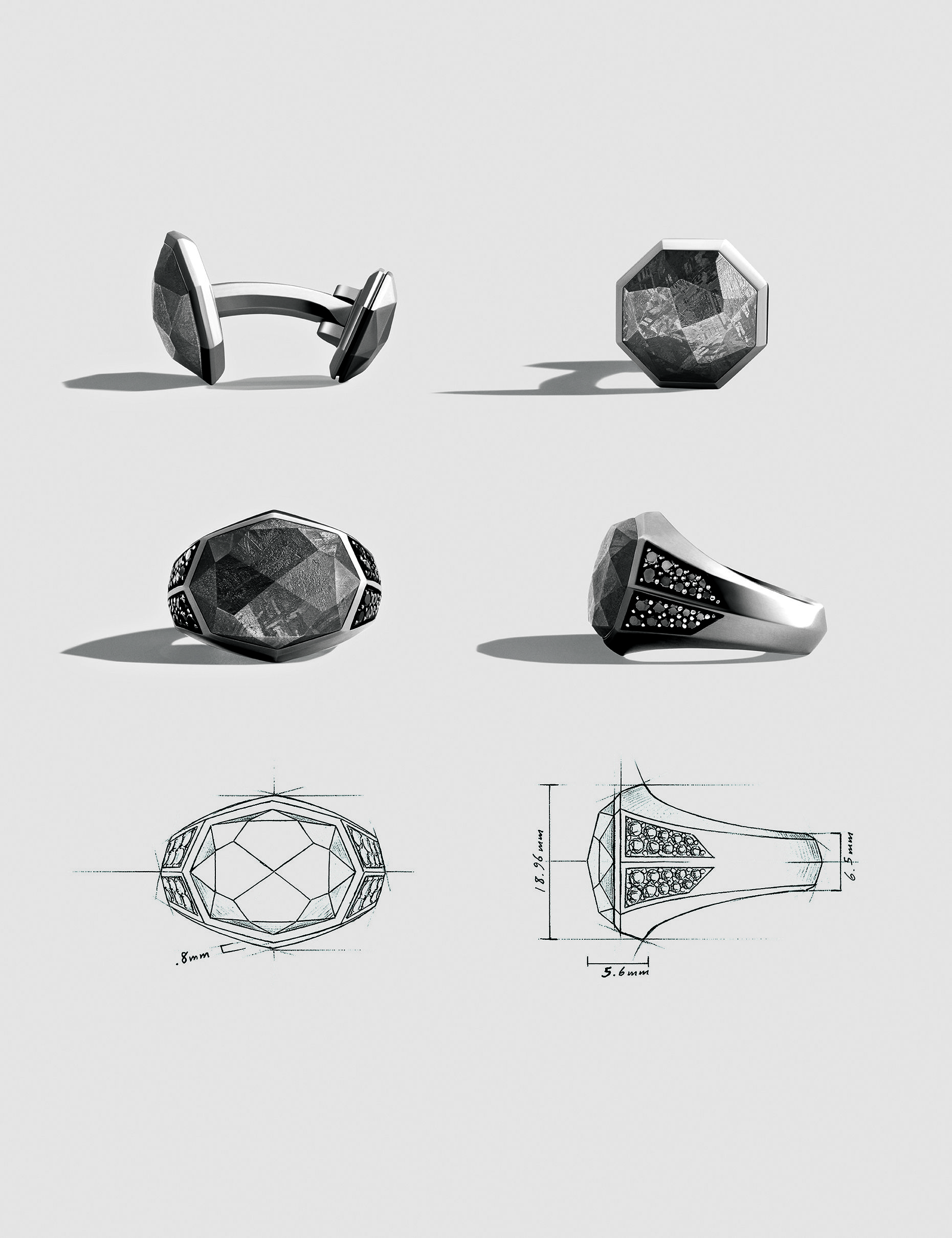 Meteorite cuff links and rings. Inspiration for the Ruby