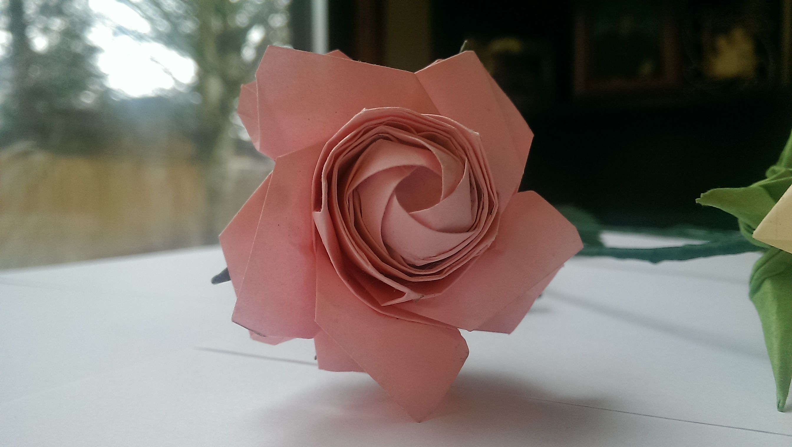 Front View Stunning Origami Roses Single Sheet Pink Fully