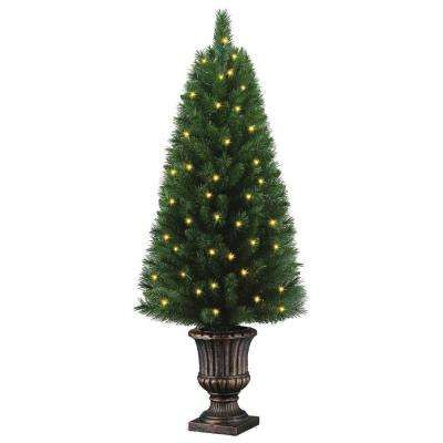 4 Ft Potted Artificial Christmas Tree With 50 Clear Lights