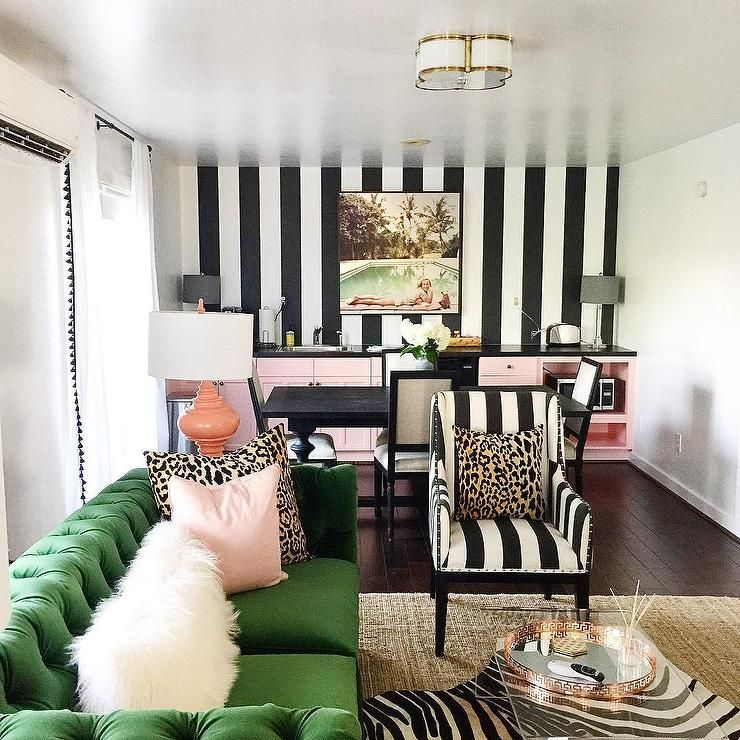 Black And White Striped Walls With Emerald Green Tufted Sofa Hollywood Regency Den L Striped Wallpaper Living Room Black And White Living Room Striped Room
