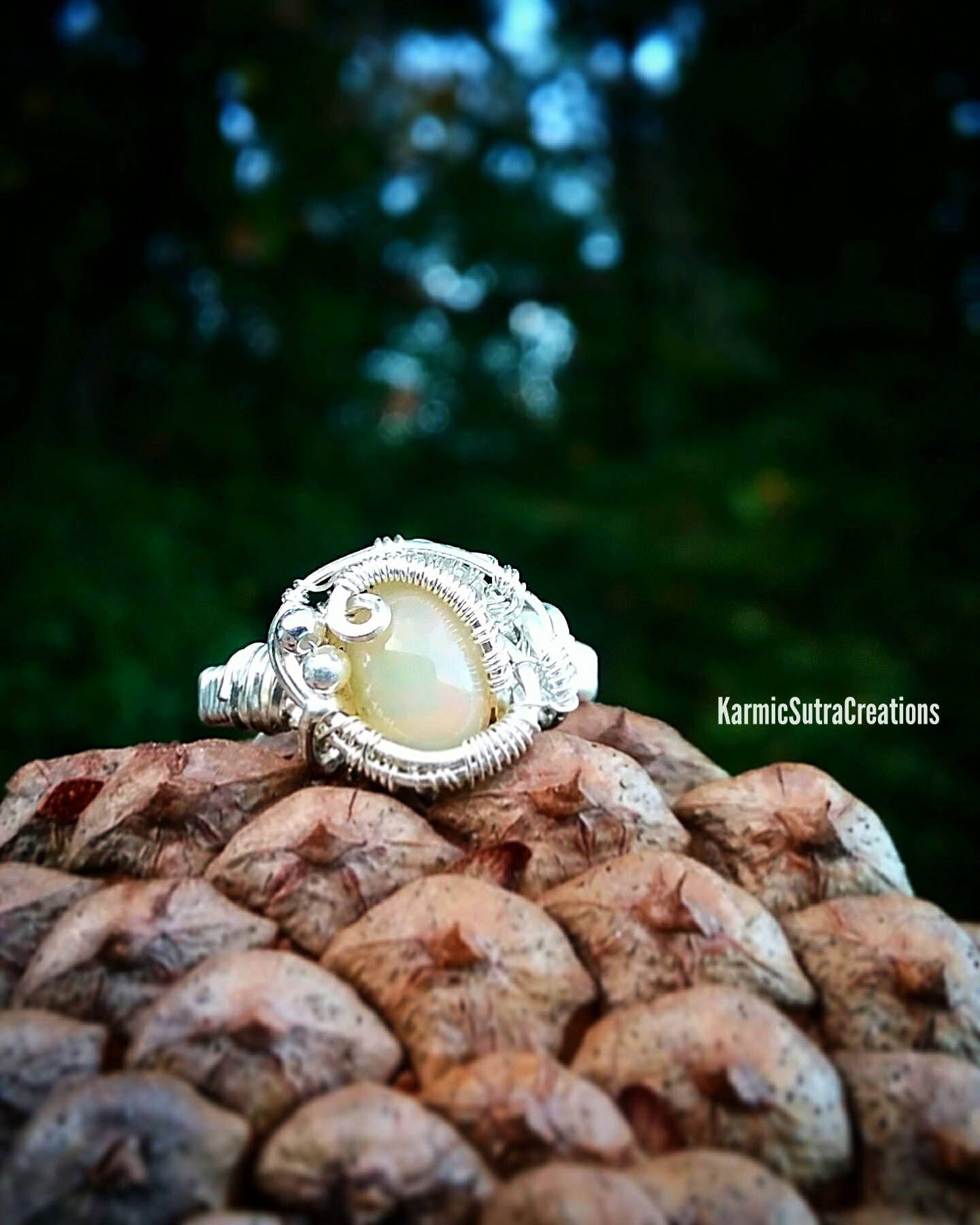 Ethiopian Welo Opal Sterling Silver Wire Wrap Ring Size 7