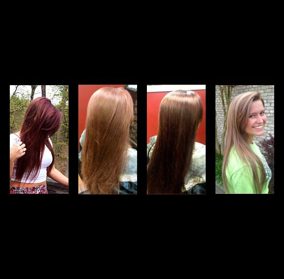 Corrective Hair Color From Box Red To Soft Brown With Blonde