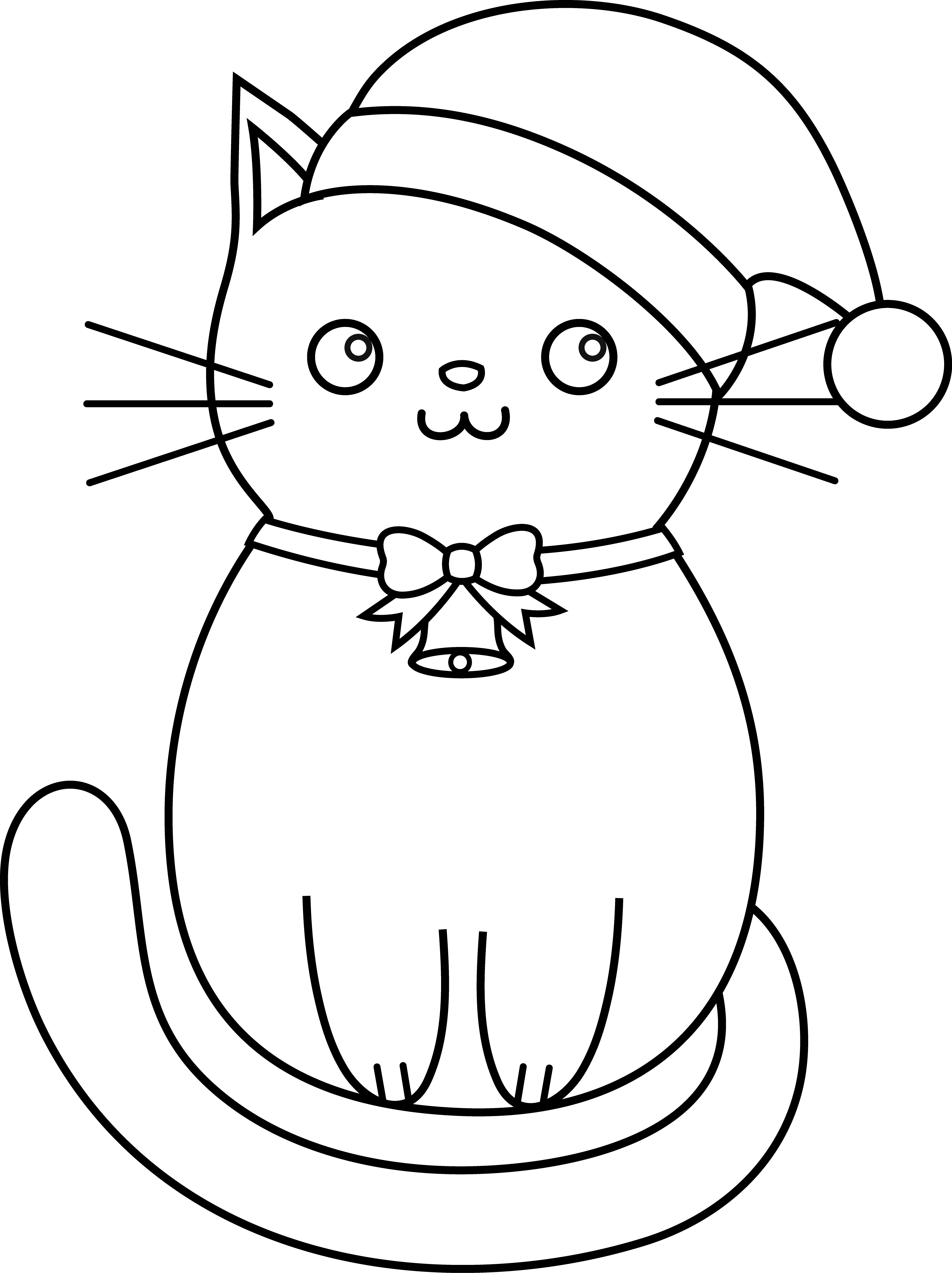 Christmas Kitty Lineart Kitty Coloring Cat Coloring Page Christmas Coloring Pages