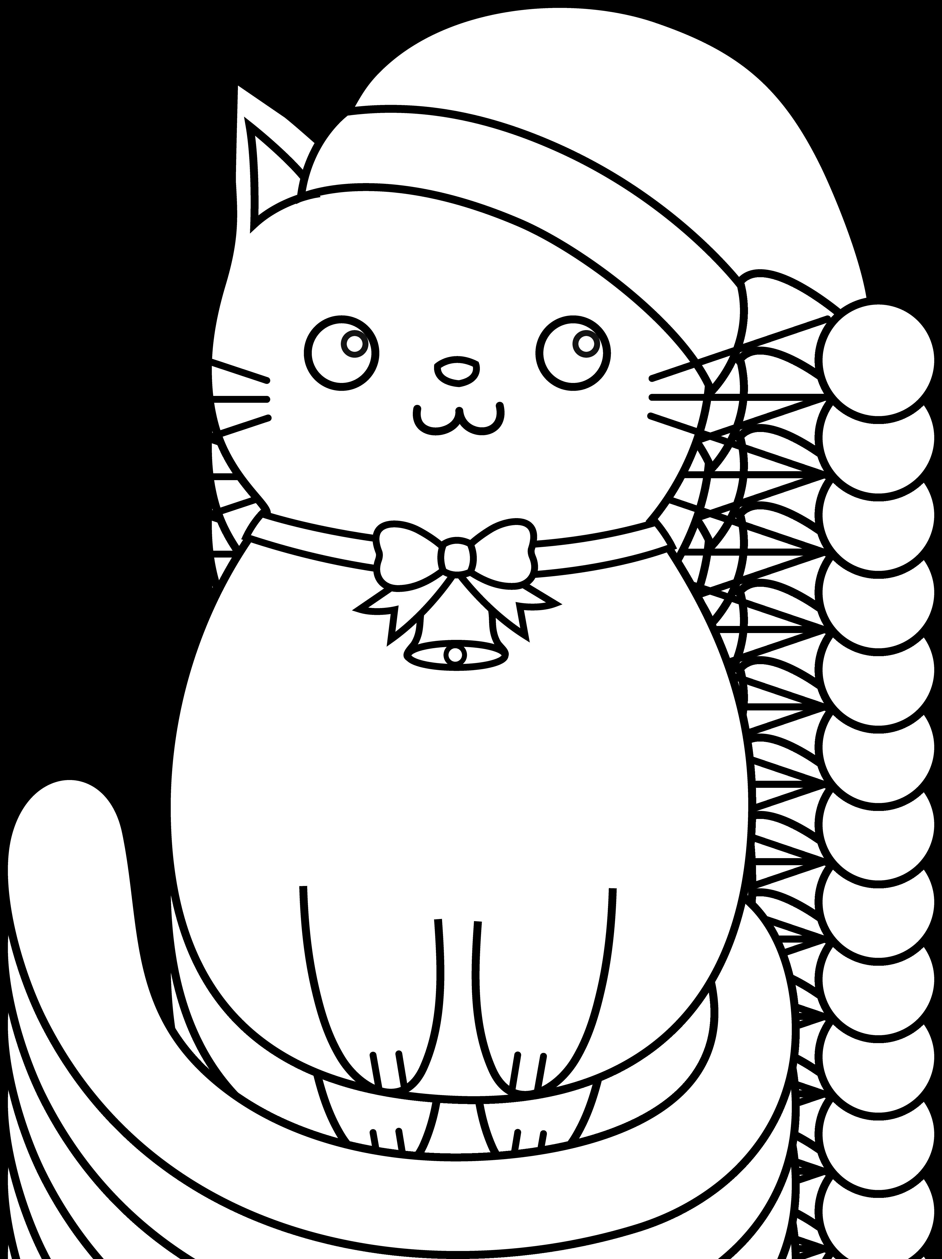 Christmas Kitty Lineart