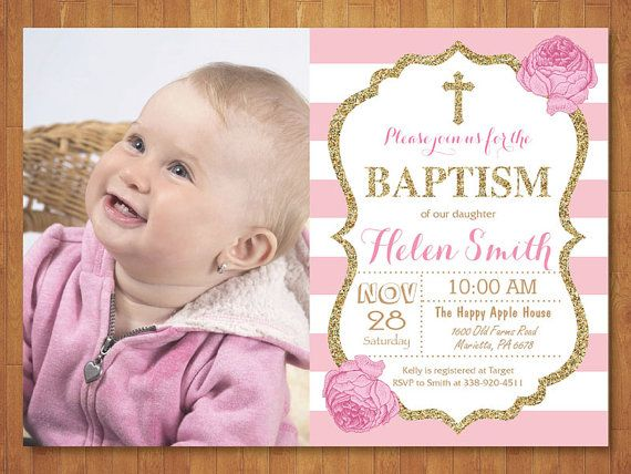 Pink and Gold Baptism Invitation with Photo Girl Christening - invitation for baptism girl
