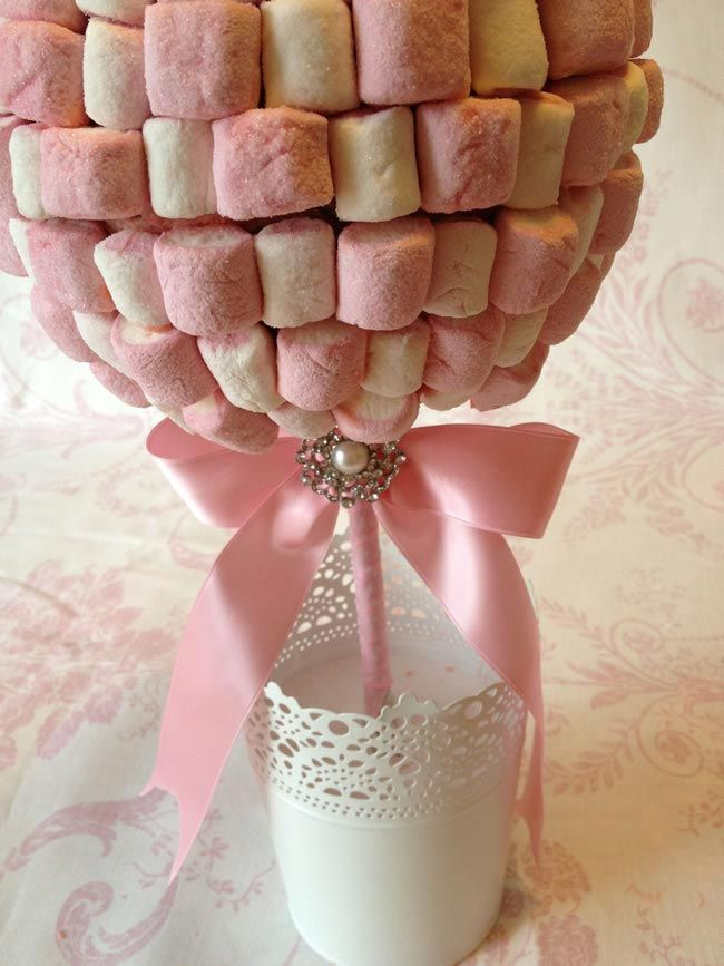 How to make sweet tree centrepieces for your big day - Comment faire des chamallow ...