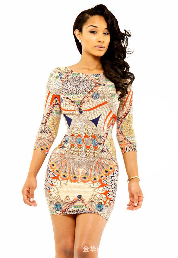 c917161697561 Robes Femininos Curto femmes manches longues africaine imprimer moulante  robes New Sexy Mini Party Night Club