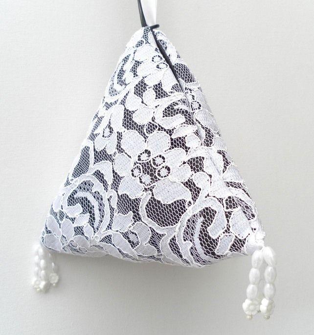 Bridal, Wedding, Evening Bag, White lace over black china silk £20.00