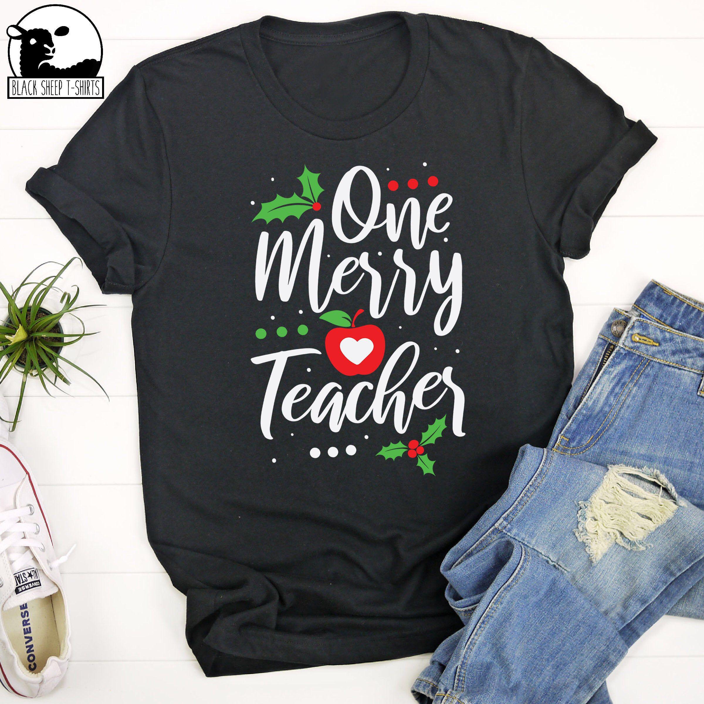 One Merry Teacher TShirt, Merry Teacher, Merry Christmas