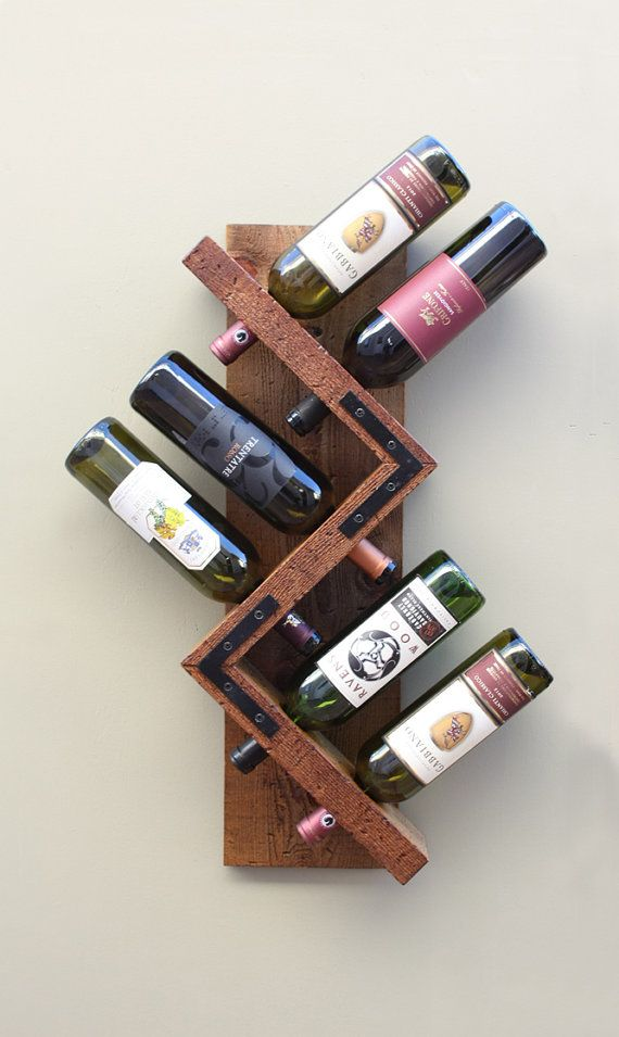 Zig Zag Wine Rack Rustic Wood Wall Mounted Wine Bottle Display