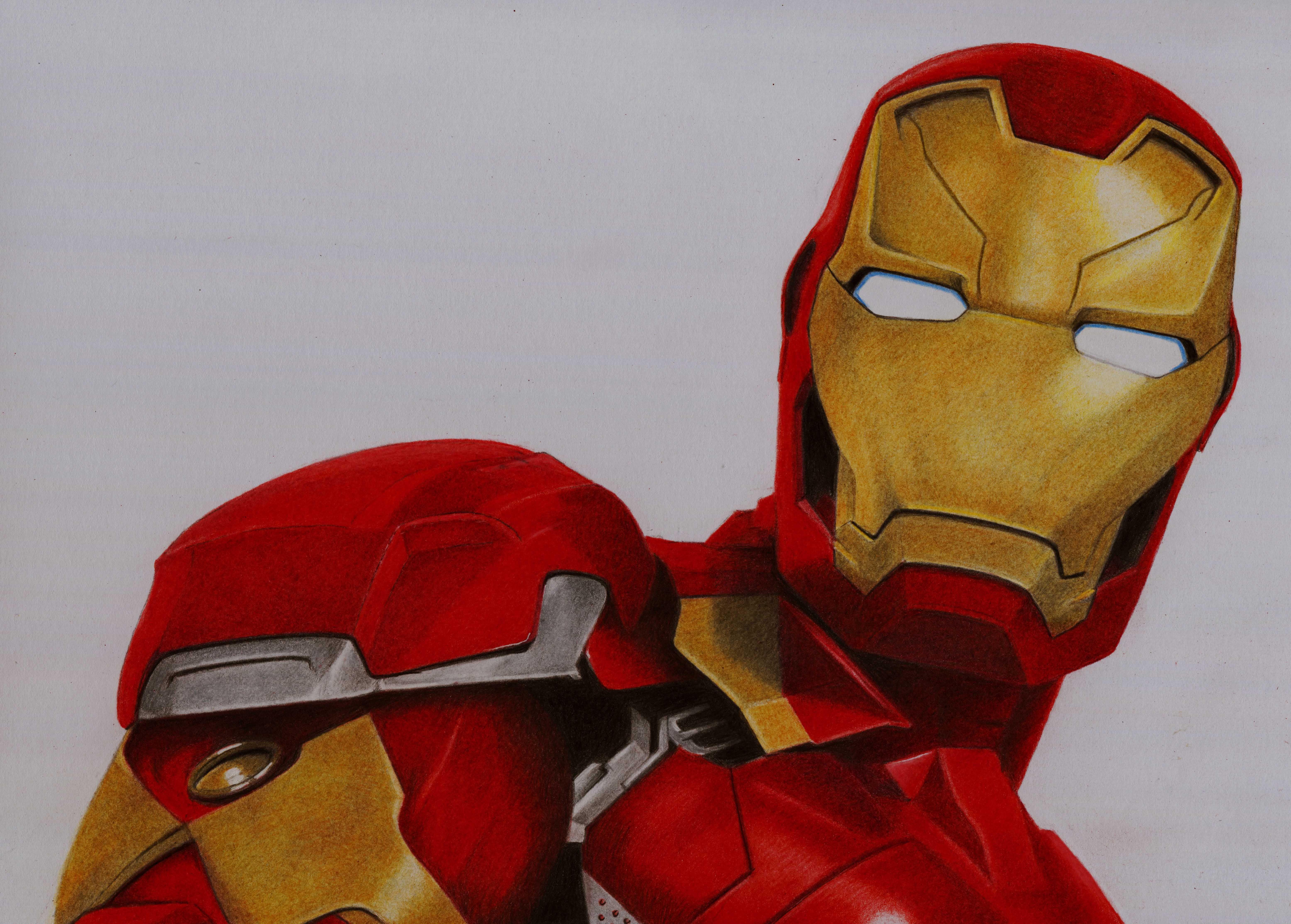 Iron Man (Captain America Civil War) coloured pencil ...