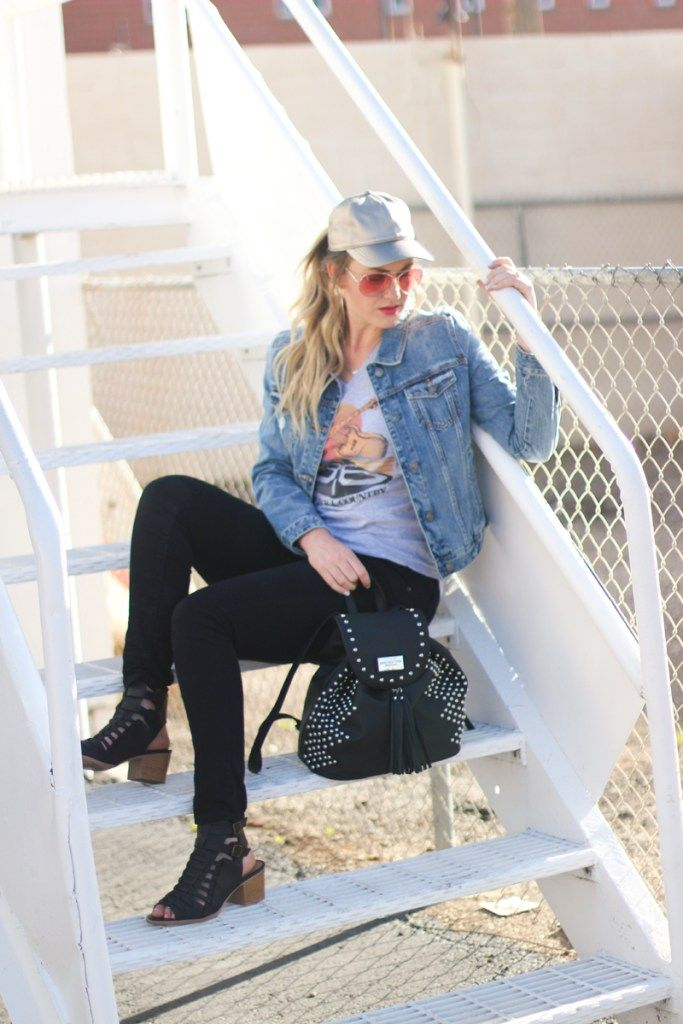 denim jacket outfit, graphic tee, metallic hat, spring outfit ideas