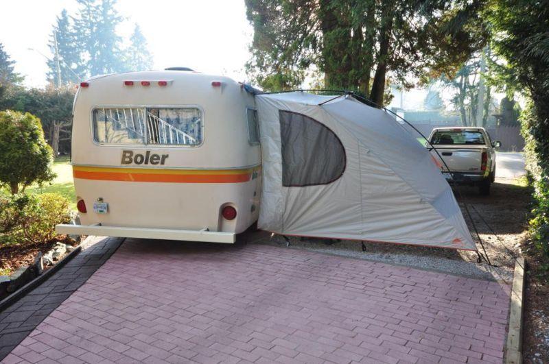Classic 17 Ft Boler With Cool Canopy Teardrop Camper Trailer Camping Trailer Boler Trailer