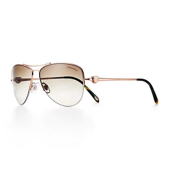 543bec07e997 Return to Tiffany® aviator sunglasses in rose gold-colored metal and acetate.