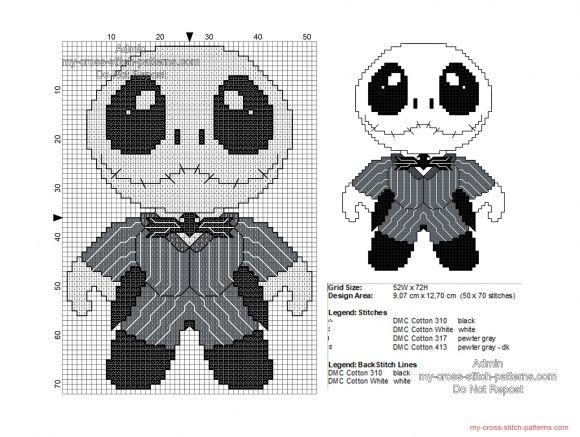 Baby Jack Skellington free Halloween cross stitch pattern 50x70 ...