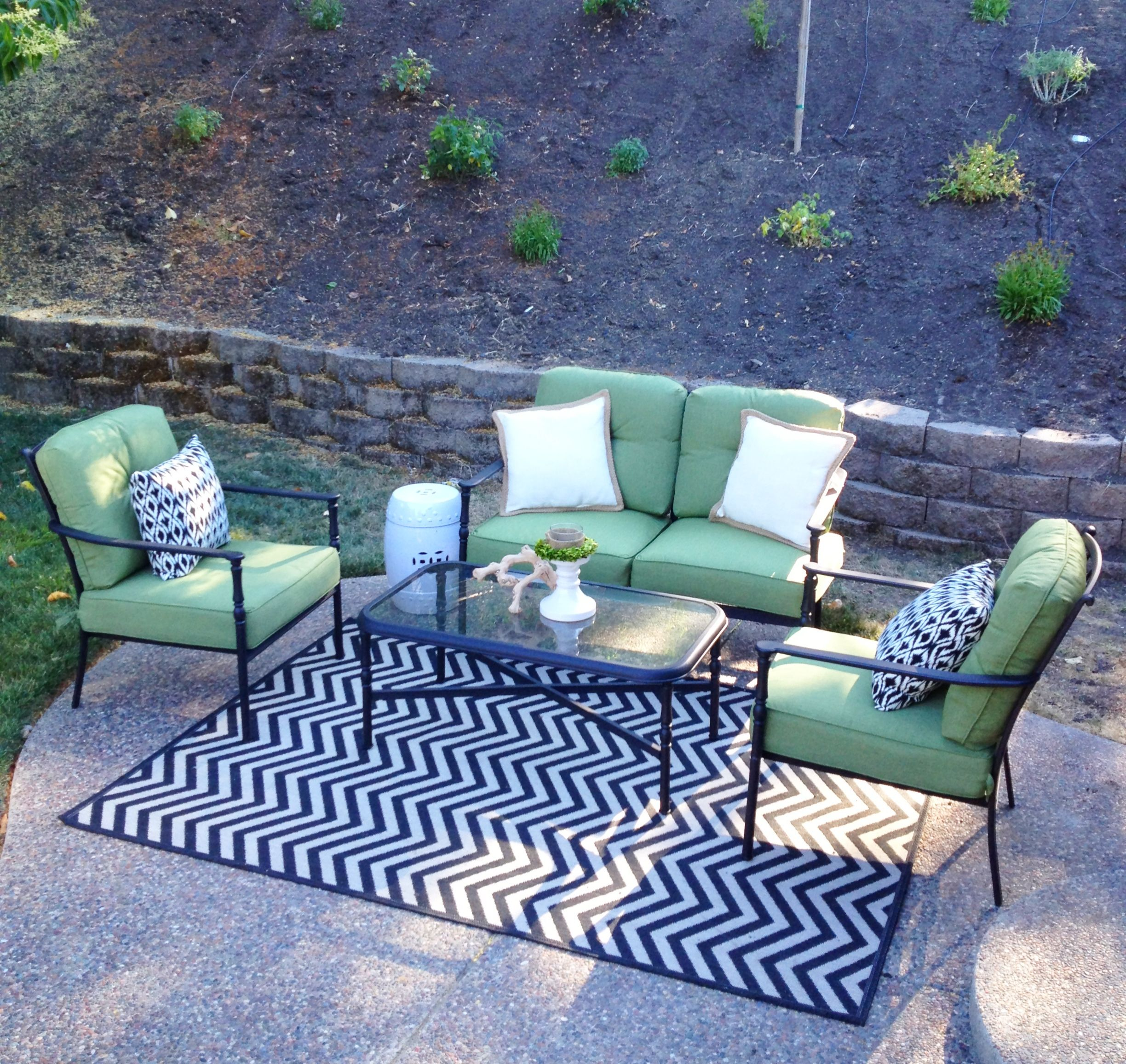 Patio lounge area Furniture from Lowe s indoor outdoor rug from