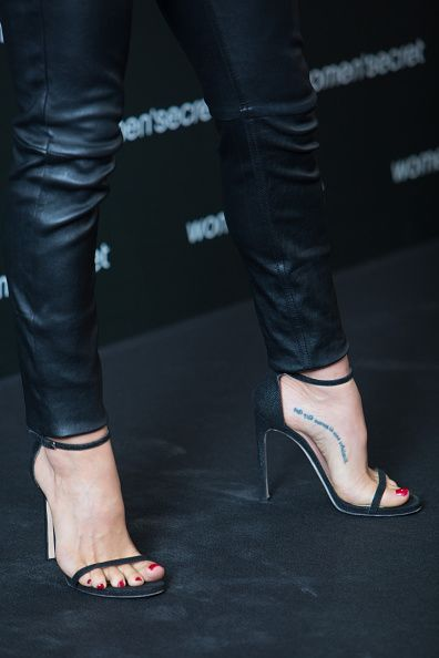Elsa Pataky (shoes details) presents the Women Secret 'Dark Seduction' fashion film at Camera Studio on September 24, 2014 in Madrid, Spain.