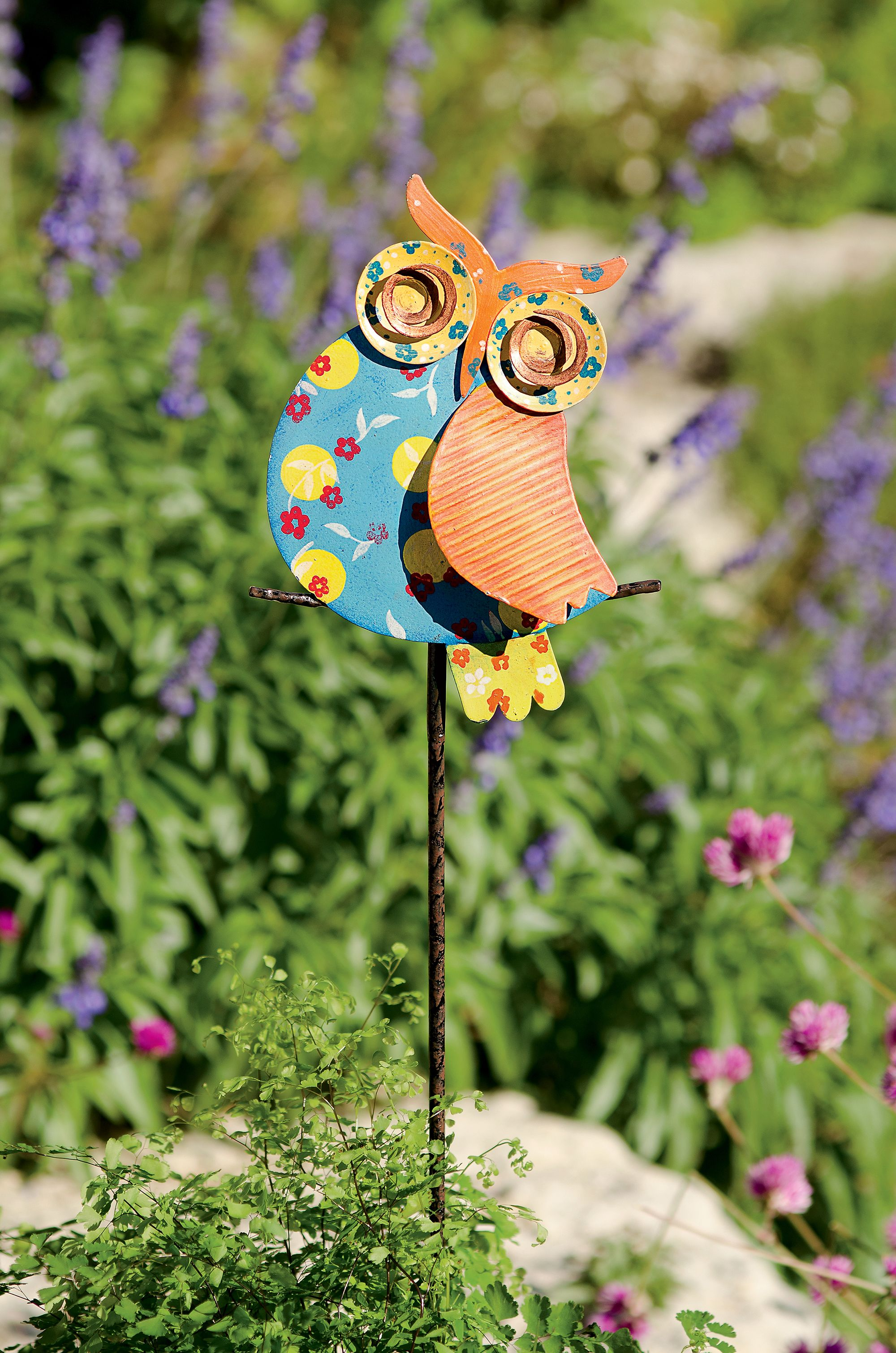 Metal Yard Art: Calico Owl Stake | Gardeners.com | metal garden ...