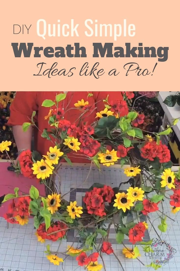 Ya'll I'm teaching you to make wreaths super fast which is great for gift giving, craft show or your Etsy shop!! via Southern Charm Wreaths #wreathmaking #wreaths #homedecor #southerncharmwreaths #diy #geranium #sunflower #summerdecor #summerwreath