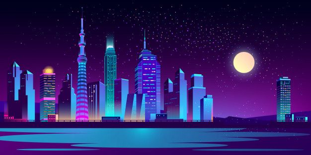Urban landscape with neon skyscrapers Free Vector