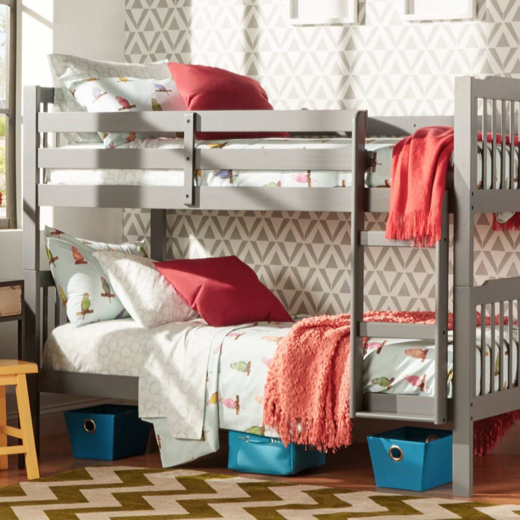 Fire truck loft bed with slide  Chelsea Lane Twin Over Twin Bunk Bed  BGAMTLBUNK  Bunk bed