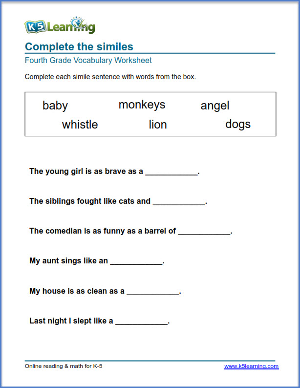 Grade 4 Vocabulary Worksheets – Printable And Organized By Subject K5  Learning Vocabulary Worksheets, Printable English Worksheets, Free Worksheets  For Kids