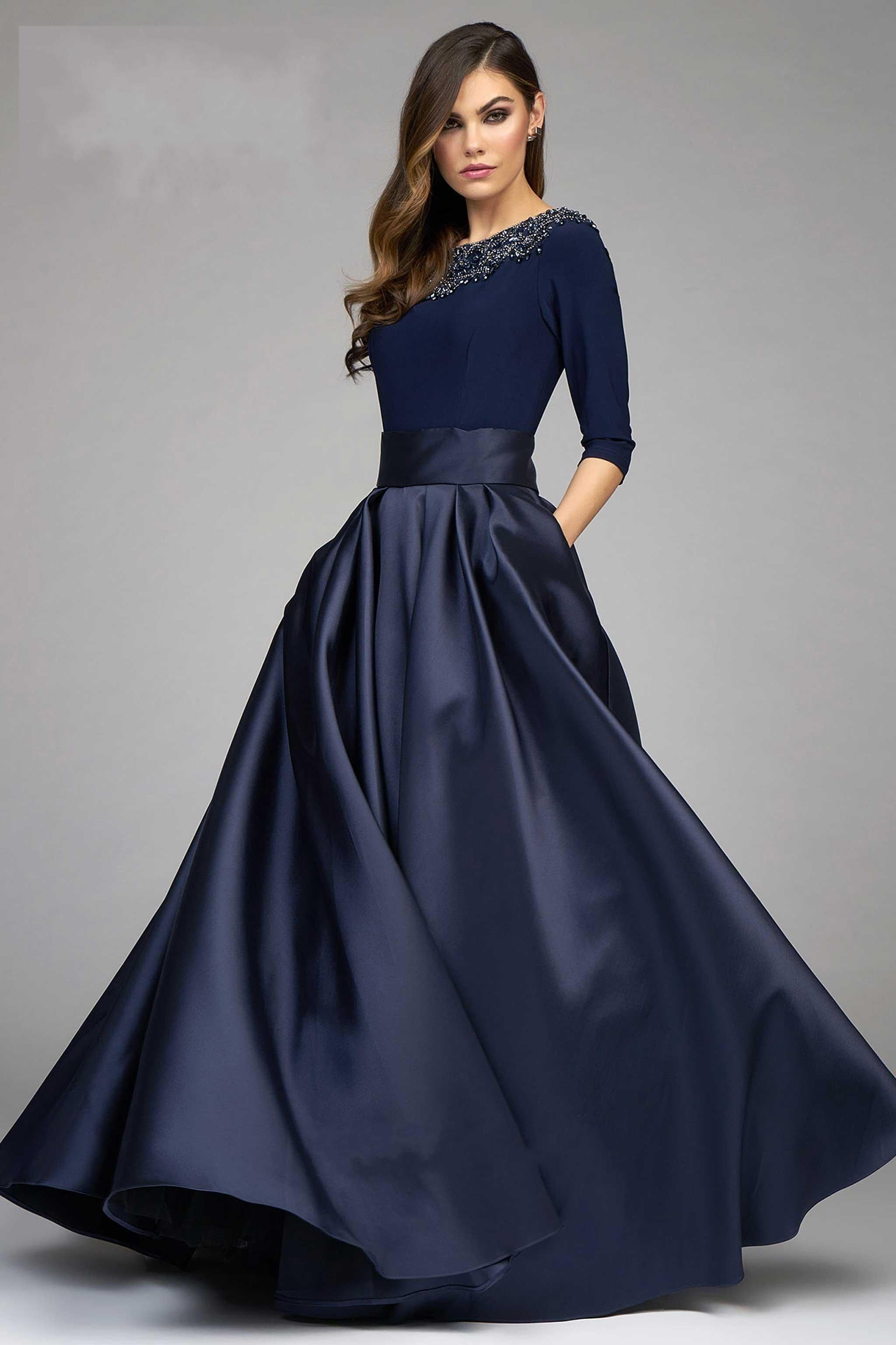Fashion Ball Gown Dresses Evening Wear Navy Blue Long Sleeve