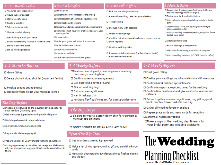 wedding planning checklist from www bridalshowplanner com