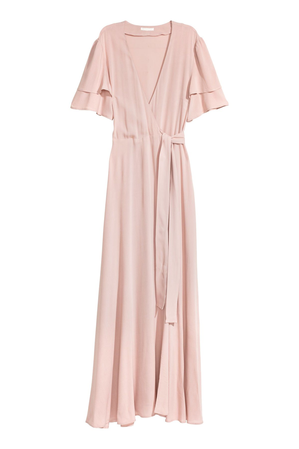 Powder pink long dress in woven fabric with a vneck wrapover