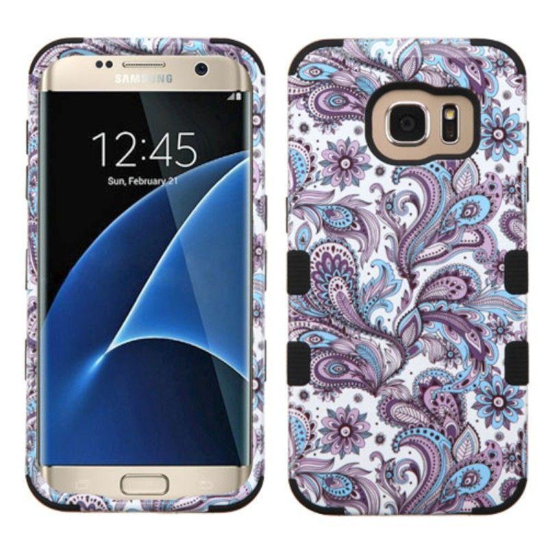 Insten / White European Flowers Tuff Hard PC/ Silicone Dual Layer Hybrid Case Cover For Samsung Galaxy S7 Edge #2208081