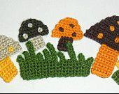 Hand Crochet Applique Mushroom With Grass 6pcs