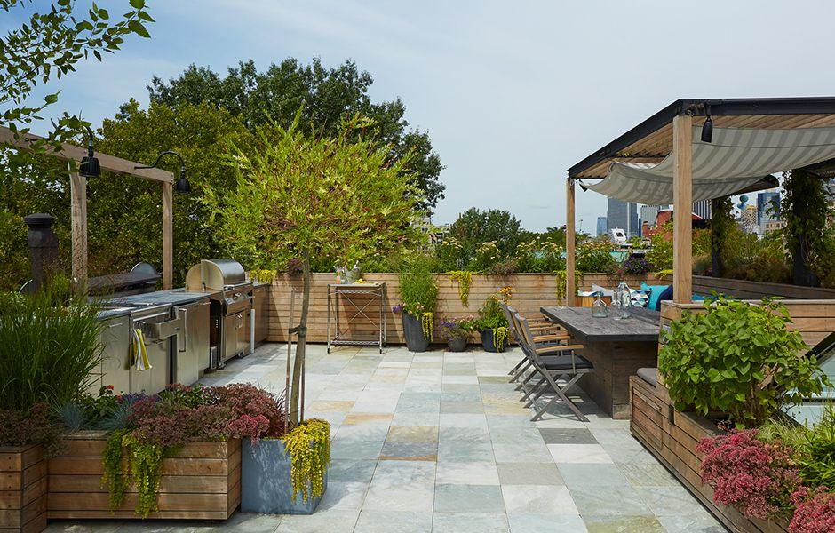 Brooklyn Heights Roof Deck Garden Kitchen Patio Deck Garden Rooftop Garden Urban