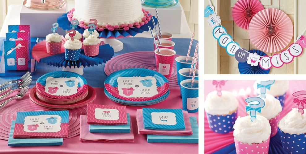 Little Man, Little Miss Gender Reveal Party Supplies