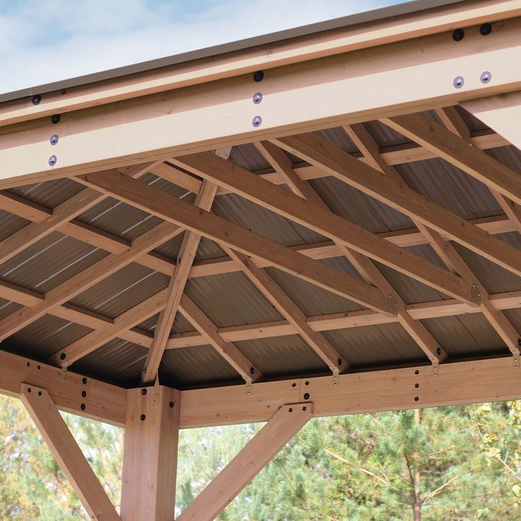 12 X 16 Cedar Gazebo With Aluminum Roof Pergola Patio Pergola Pergola Plans