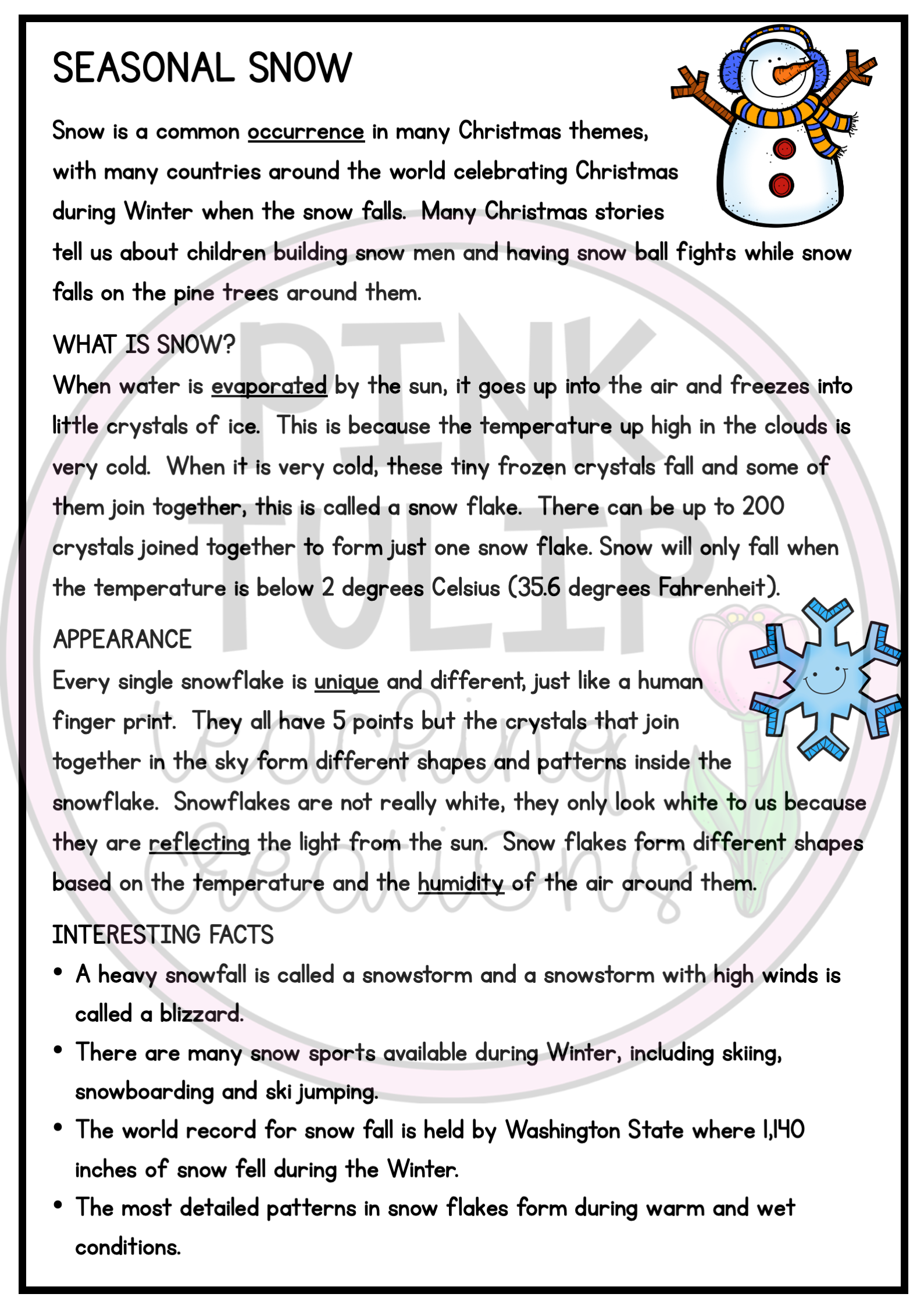 Seasonal Snow Christmas Comprehension Reading Strategy Worksheet Reading Strategies Reading Comprehension Resources Social Emotional Activities [ 2249 x 1589 Pixel ]