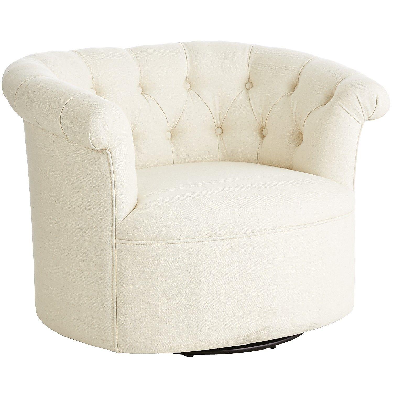 Ivory Colette Swivel Chair Parchment Eucalyptus Arm