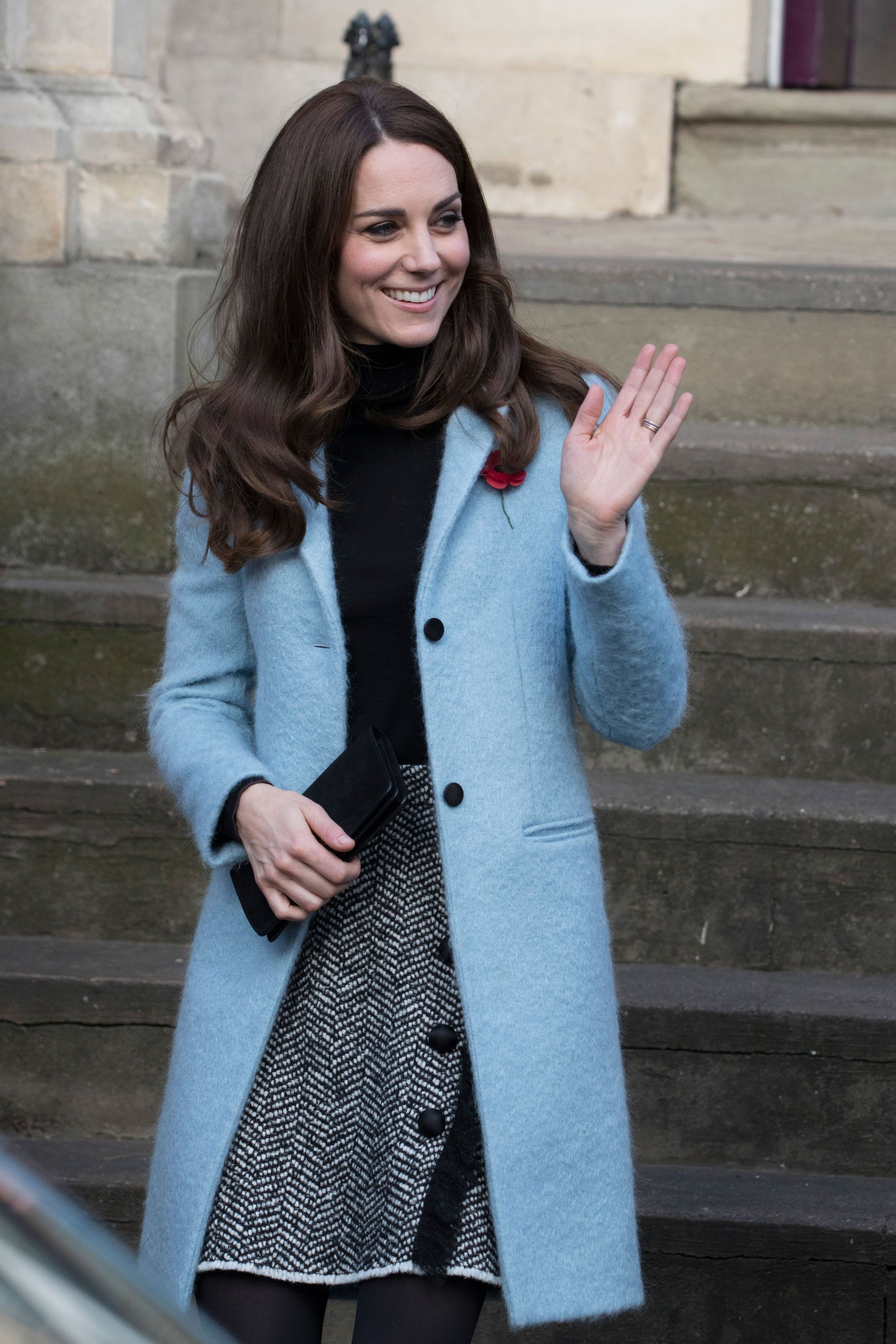 Kate Middleton s Icy Blue Coat Is Already Sold Out- LOVE THIS COMPLETE  OUTFIT! Black Turtleneck- grey speckled skirt and that blue coat and black  ... 5dec06790