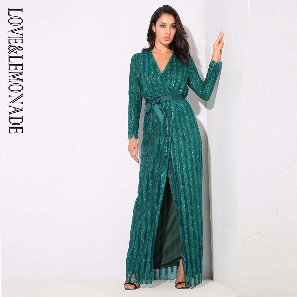 Stripes Cross Deep V Neck Split Long Dress With Belt Price  66.00   FREE  Shipping  girlsclothes 9ddfdf75aeb7