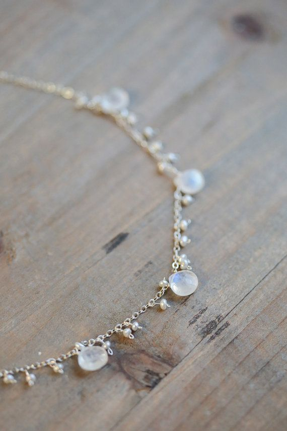 Pearl and Moonstone Necklace, Delicate Bridal Jewelry, Freshwater Pearl  Necklace, Rainbow Moonstones,