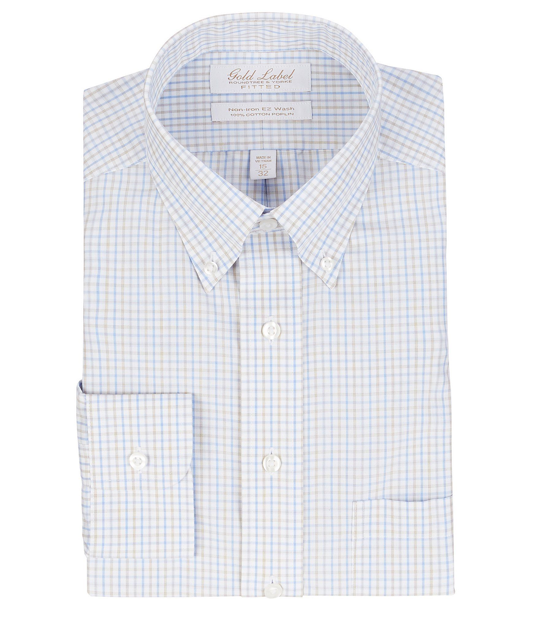 From Gold Label Roundtree & Yorke, this fitted button-down collar dress shirt features:Checked patternButton-down collarButton frontSingle patch pocketExact sleeve length for the perfect fitButton cuffsBack yoke with box pleatTaped shoulder and side seamsCurved hemWrinkle-free; no iron neededEasy Wash finish on cuffs and collar releases stains in washerCottonMachine Wash / Tumble DryImported.
