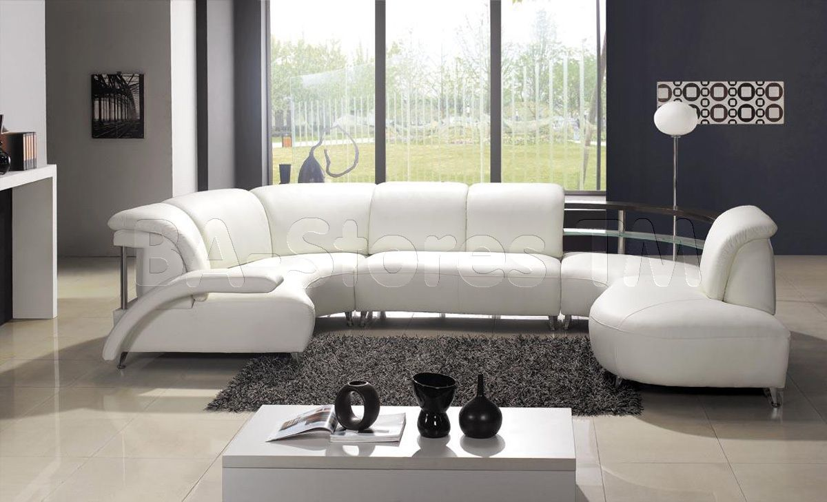 Ultra Modern U Shaped White Leather Sectional Sofas Lounge