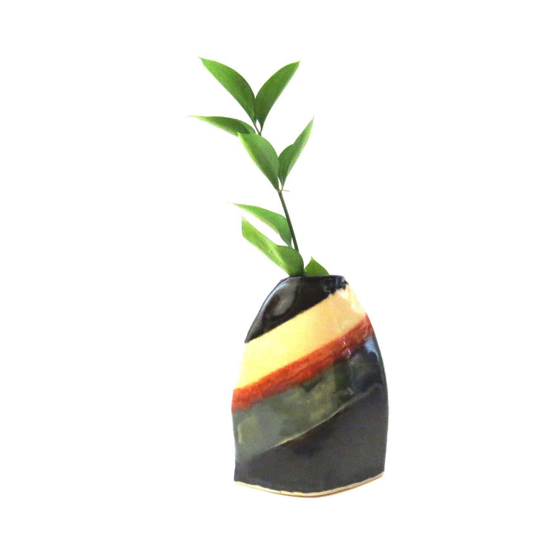Ceramic vase black orange blue vase handbuilt vase flat vase ceramic vase black orange blue vase handbuilt vase flat vase pod vase floridaeventfo Gallery