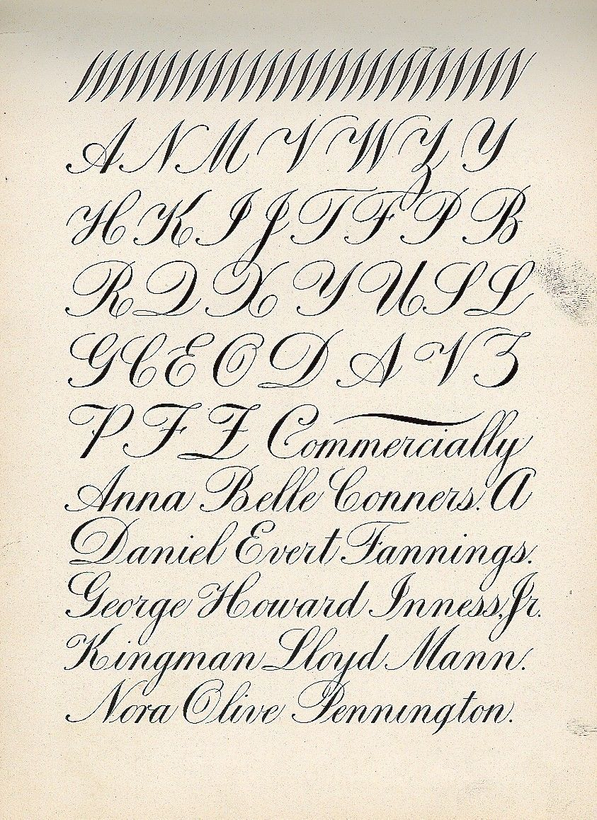 Copperplate or engrossers script upper case letters from