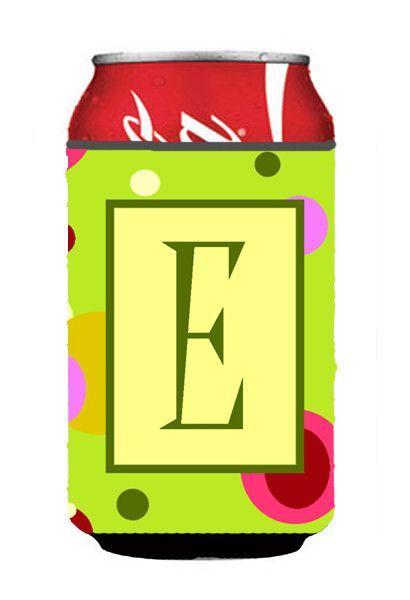 Letter E Initial Monogram - Green Can or Bottle Beverage Insulator Hugger