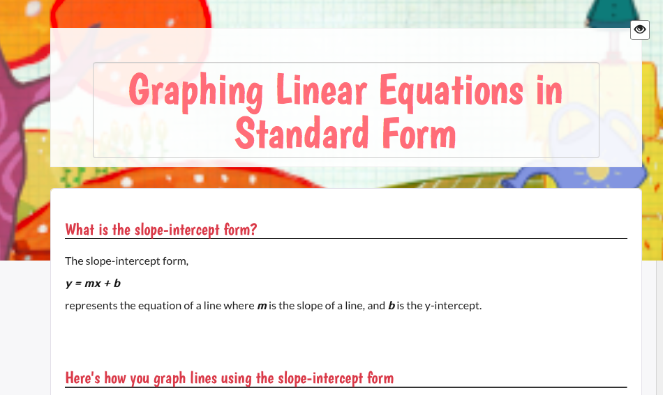 New Wizer Lesson That Explains How To Graph Linear Equations That