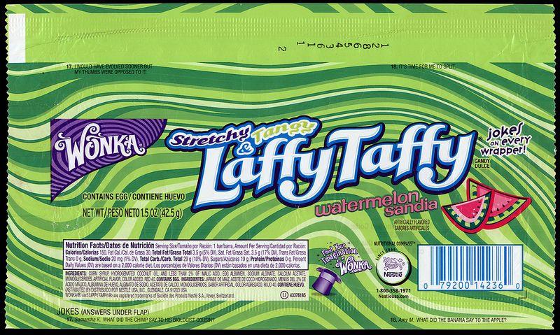 Nestle Wonka Laffy Taffy Watermelon Candy Wrapper 2013 Laffy Taffy Candy Candy Wrappers