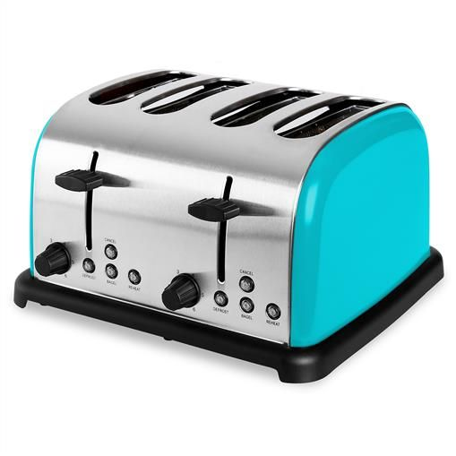 Turquoise 4 slice toaster wide slot 1 side bagel toast stainless