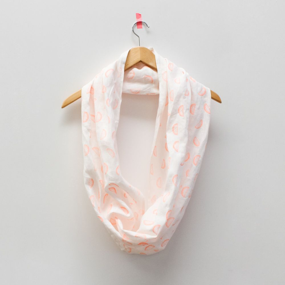 Linen infinity scarf - handprinted - Watermelon